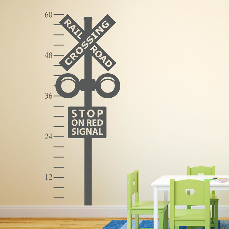 Railroad Crossing Growth Chart Decal - Train Crossing Wall Decal - Train Wall Art