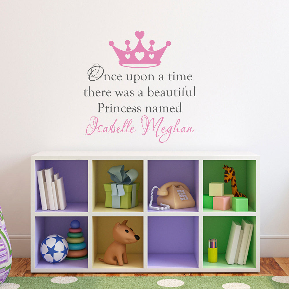 Personalized Once Upon a Time There Was a Beautiful Princess Wall Decal - Medium