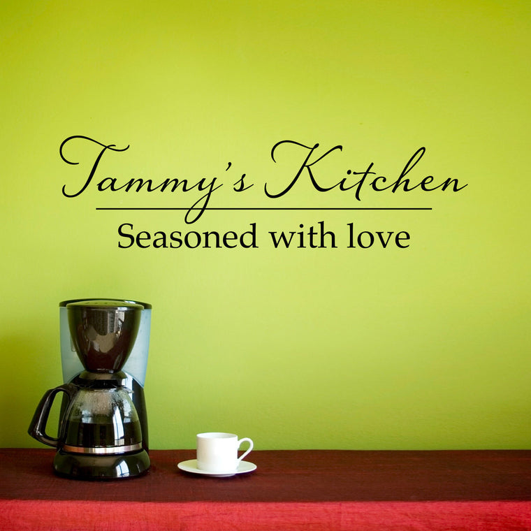 Personalized Kitchen - Seasoned with Love Wall Decal - Medium