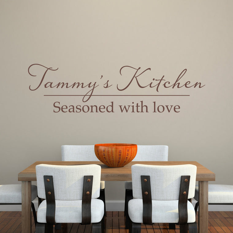 Personalized Kitchen Seasoned With Love Wall Decal - Extra Large