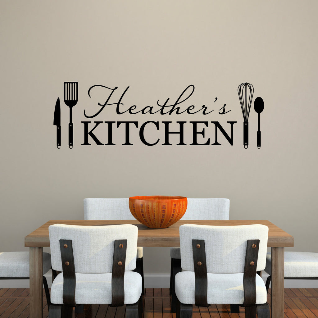Personalized Name and Kitchen Utensils Wall Decal - Extra Large