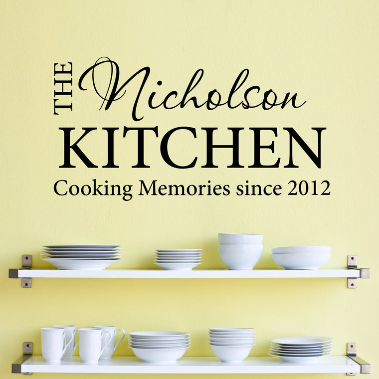 Personalized Name Kitchen Wall Decal - Cooking Memories - Date Decal - Large