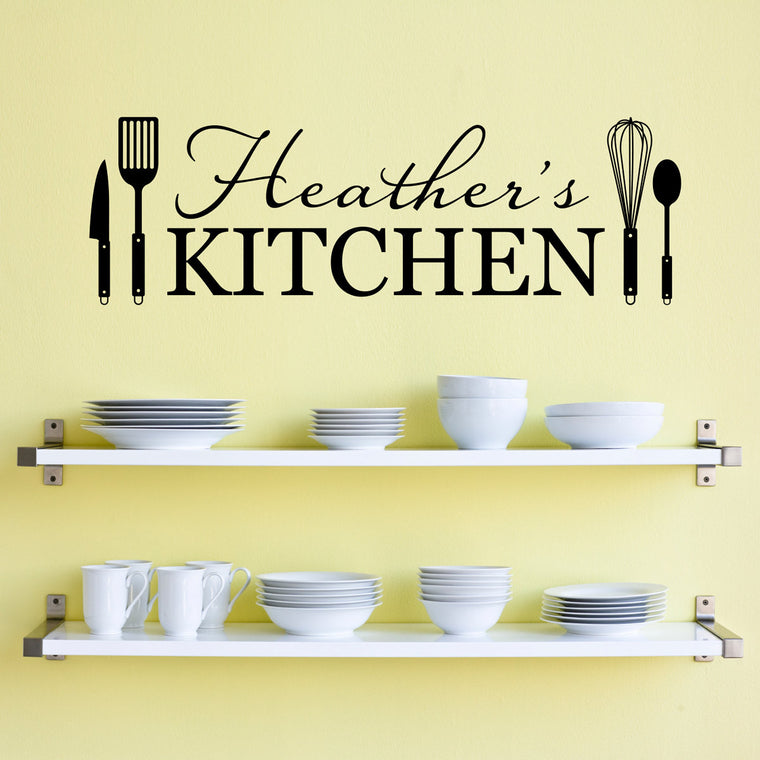 Personalized Name Kitchen Wall Decal - Kitchen Utensils Wall Art - Large