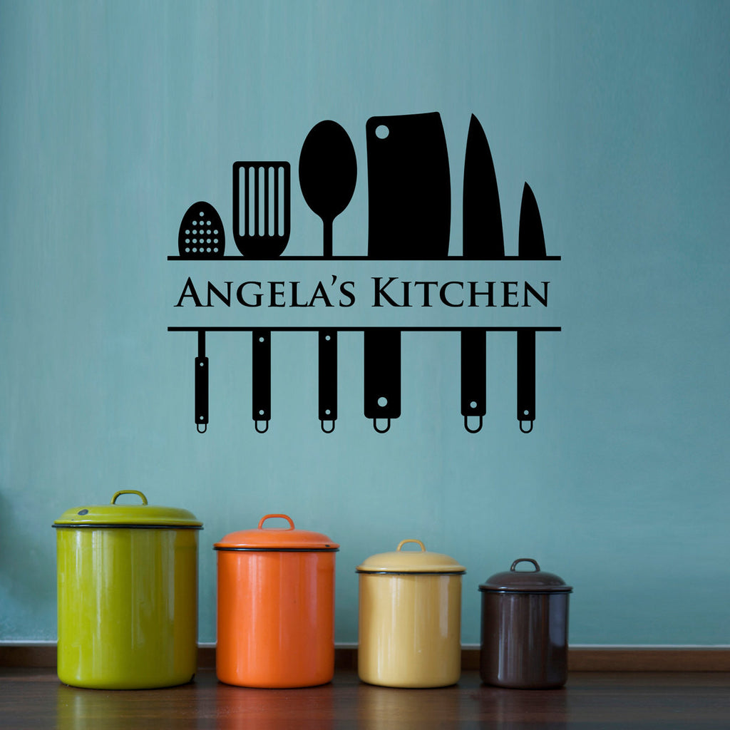 Personalized Kitchen Utensil Wall Decal - Large