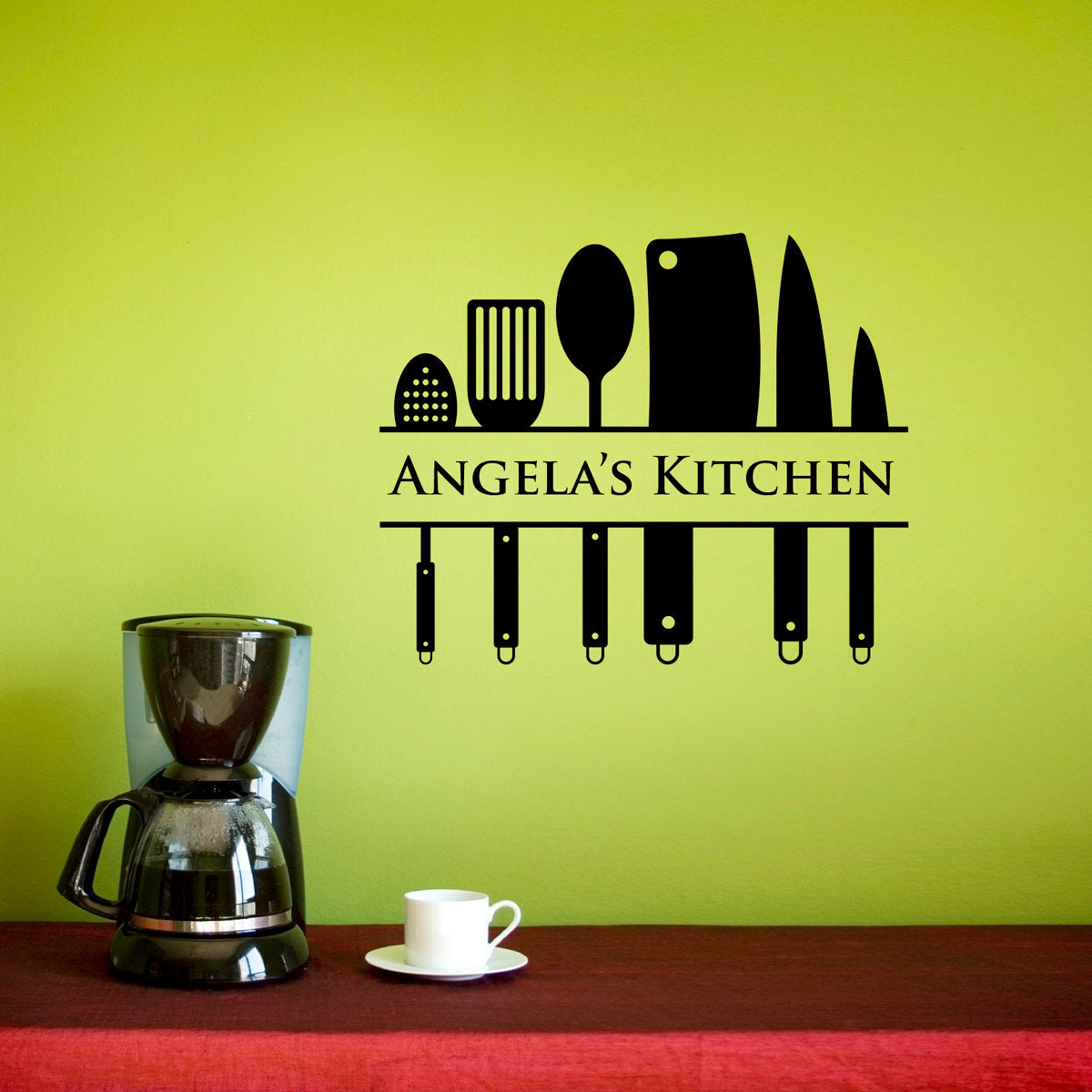 Kitchen Wall Decal - Custom Name Decal - Kitchen Utensil Wall Art ...