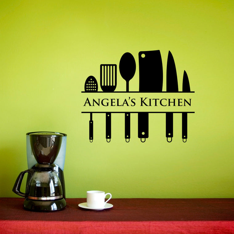 Personalized Kitchen Utensil Wall Decal - Medium