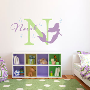 Mermaid with Bubbles Initial and Personalized Name Large Wall Decal Set