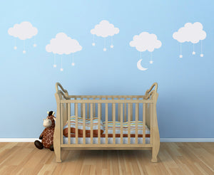Set of 5 Puffy Clouds with Dangle Stars and Moon Nursery Wall Decals