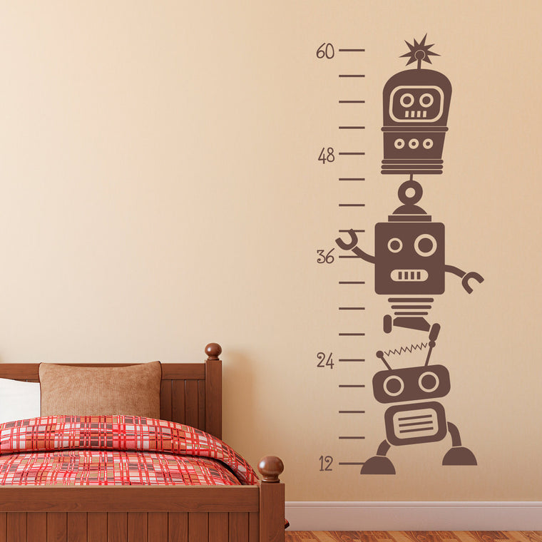 Robot Growth Chart Wall Decal