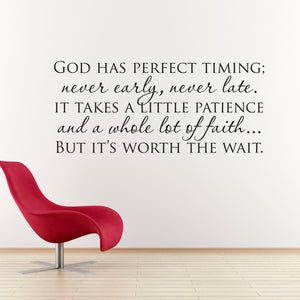 God has Perfect Timing Christian Wall Art Quote