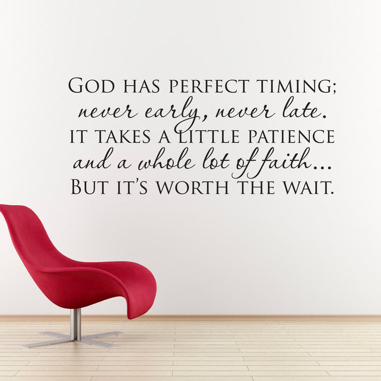 God Has Perfect Timing Wall Decal - Large