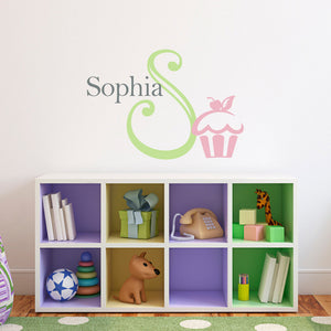 Cupcake Initial and Personalized Name Medium Nursery Wall Art Decal Set