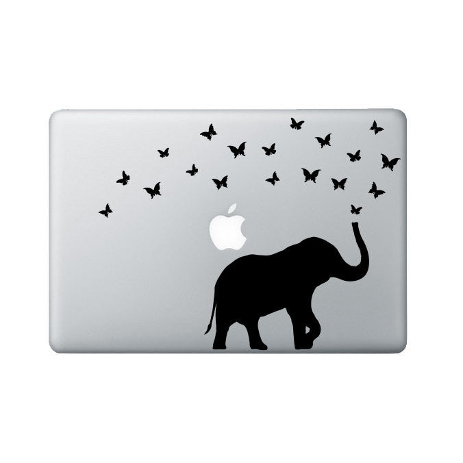 Elephant and Butterflies Laptop Decal
