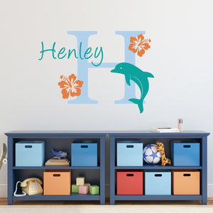 Dolphin Initial and Personalized Name Large Ocean Wall Decal