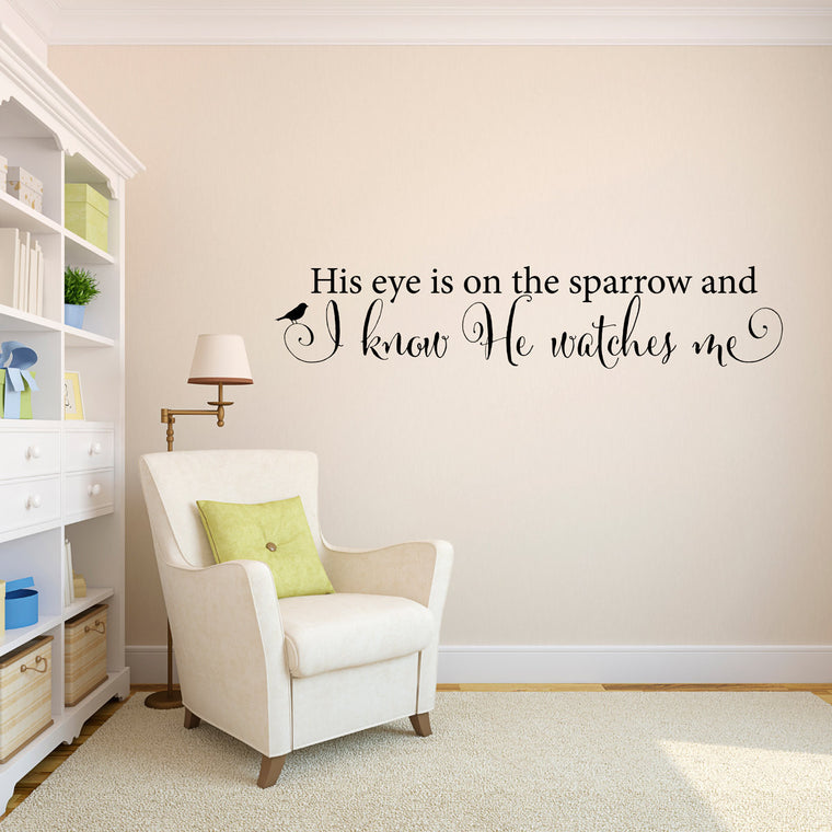 Sparrow Wall Decal - His eye is on the sparrow - Christian Decal - Large