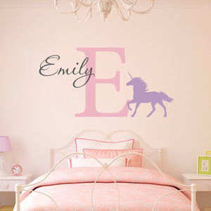 Unicorn Initial and Personalized Name Large Wall Decal Set