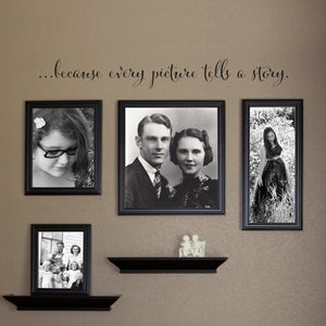 ...Because Every Picture Tells a Story Large Script Gallery Wall Decal