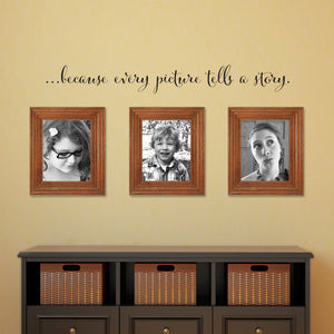 ...Because Every Picture Tells a Story Medium Script Gallery Wall Decal