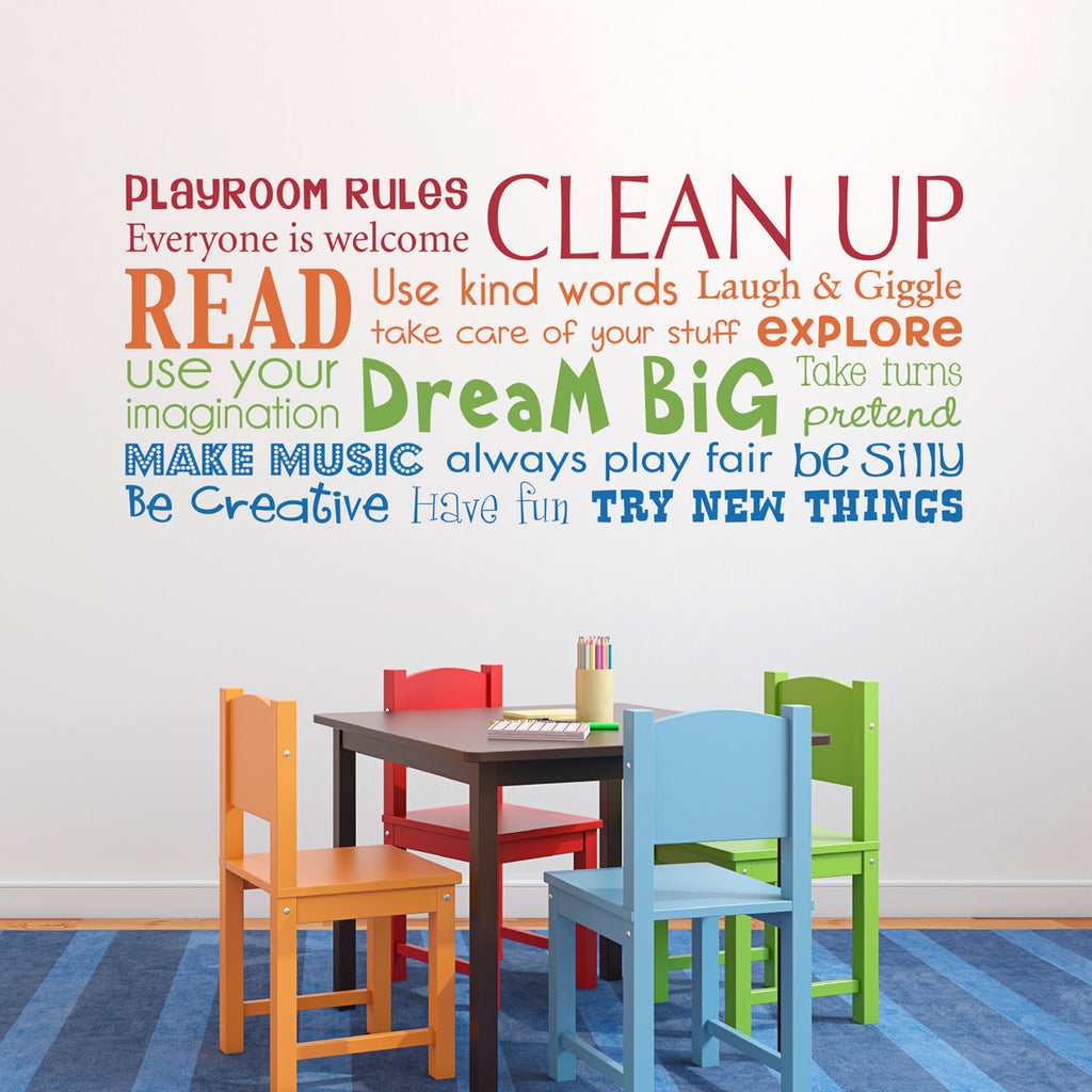 Playroom Rules Wall Decal - Multiple Color Version - Horizontal Large