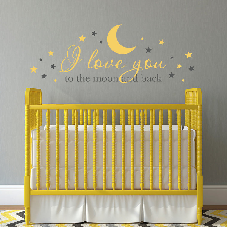 I love you to the moon and back Wall Decal - Nursery Decal - Baby Wall Decor - Extra Large