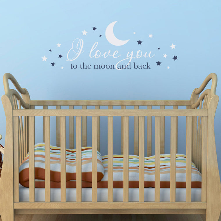 I love you to the moon and back Wall Decal - Nursery Decal - Baby Wall Decor - Large