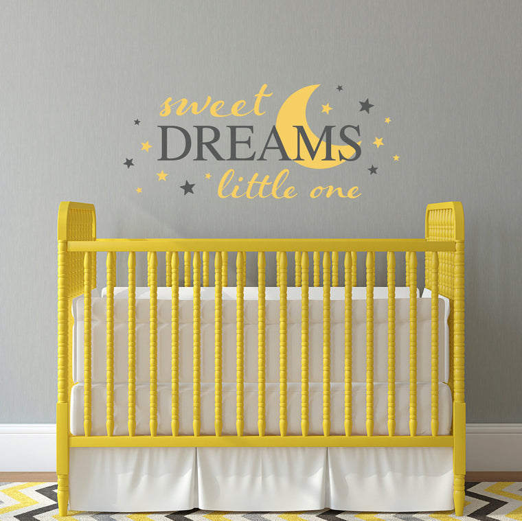 Sweet Dreams Decal - Little one Nursery Decal - Moon wall sticker - Large