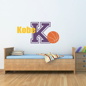 Basketball Initial and Personalized Name Large Sports Wall Decal Set
