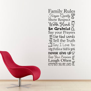 Family Rules Vertical Medium Wall Decal