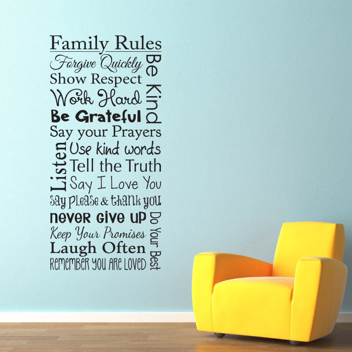 Family Rules Wall Decal - Vertical Large