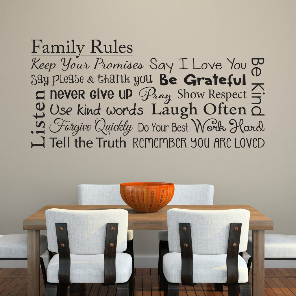 Family Rules Wall Decal - Horizontal Extra Large