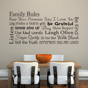Family Rules Horizontal Extra Large Wall Decal