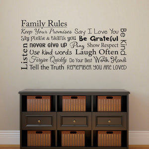 Family Rules Horizontal Large Wall Decal