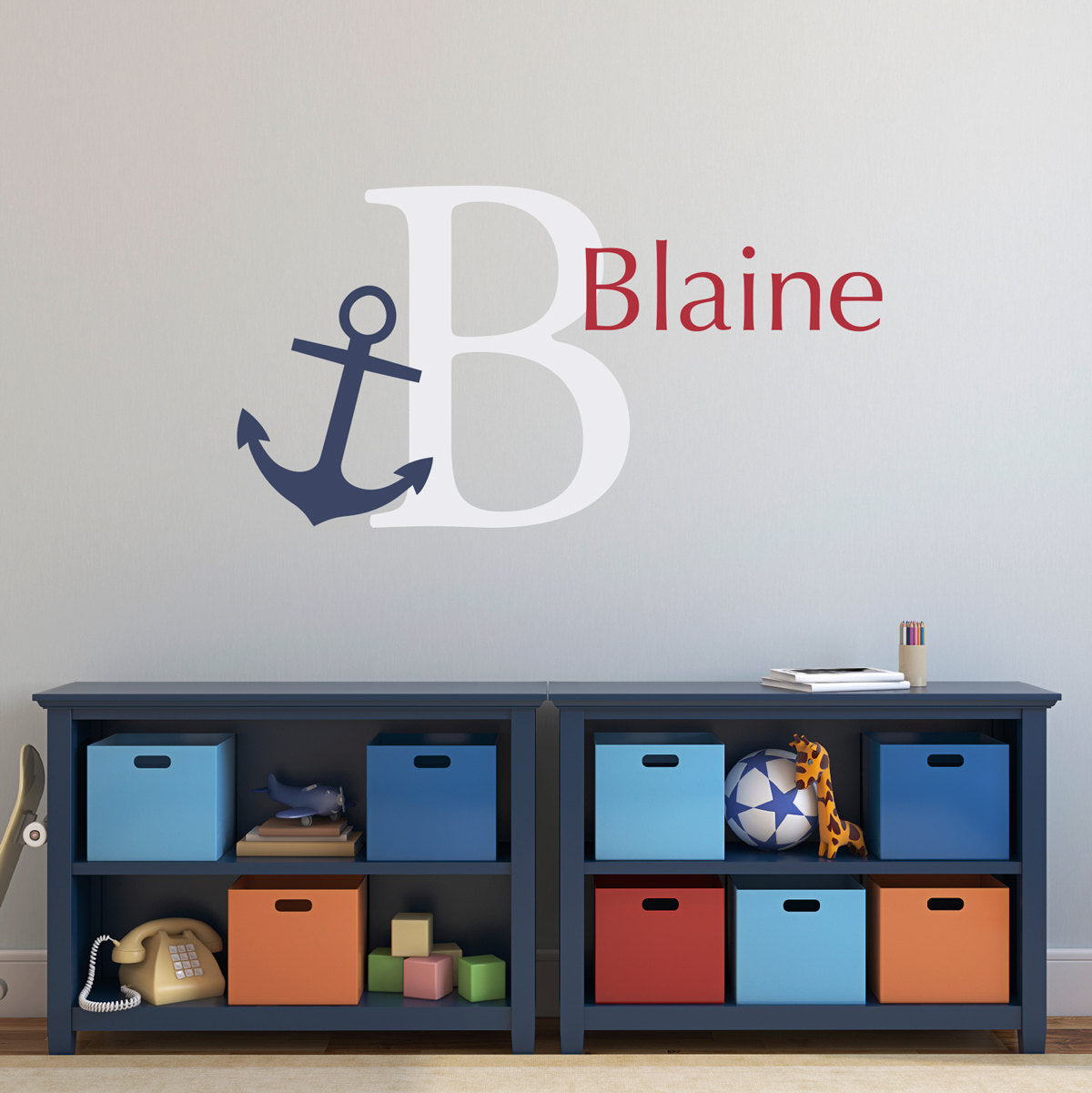 Personalized kids decals stephen edward graphics anchor initial name wall decal set preppy wall decal nautical wall art personalized name large amipublicfo Image collections