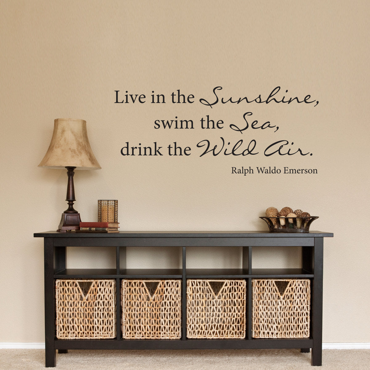 Emerson Quote Wall Decal Drink The Wild Air Ralph Waldo Medium Brown New Live In Sunshine