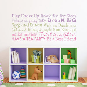 Girls Rules Horizontal Medium 3 Color Wall Decal Set