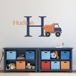 Dump Truck Initial and Personalized Name Large Bedroom Wall Decal Set