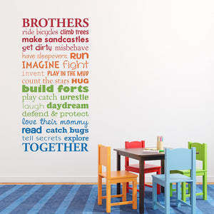 Brothers Together Multiple Color Version Large Wall Decal Set