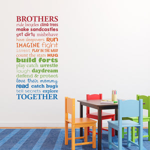 Brothers Together Multiple Color Version Medium Wall Decal Set