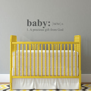 Baby Wall Decal - Dictionary definition Decal - a precious gift from God - Medium