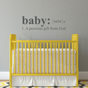 Baby Definition Large Nursery Wall Decal Quote