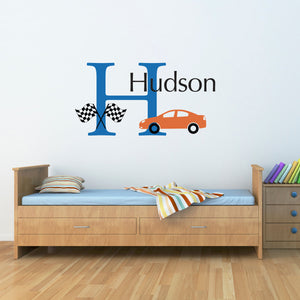 Race Car Initial and Personalized Name Large Wall Decal Set