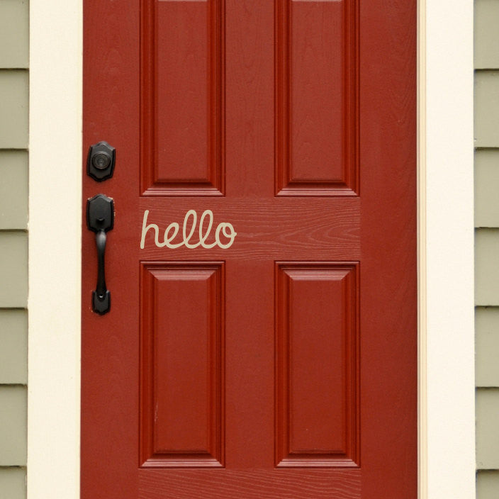 Hello Door Decal - Handwritten Style