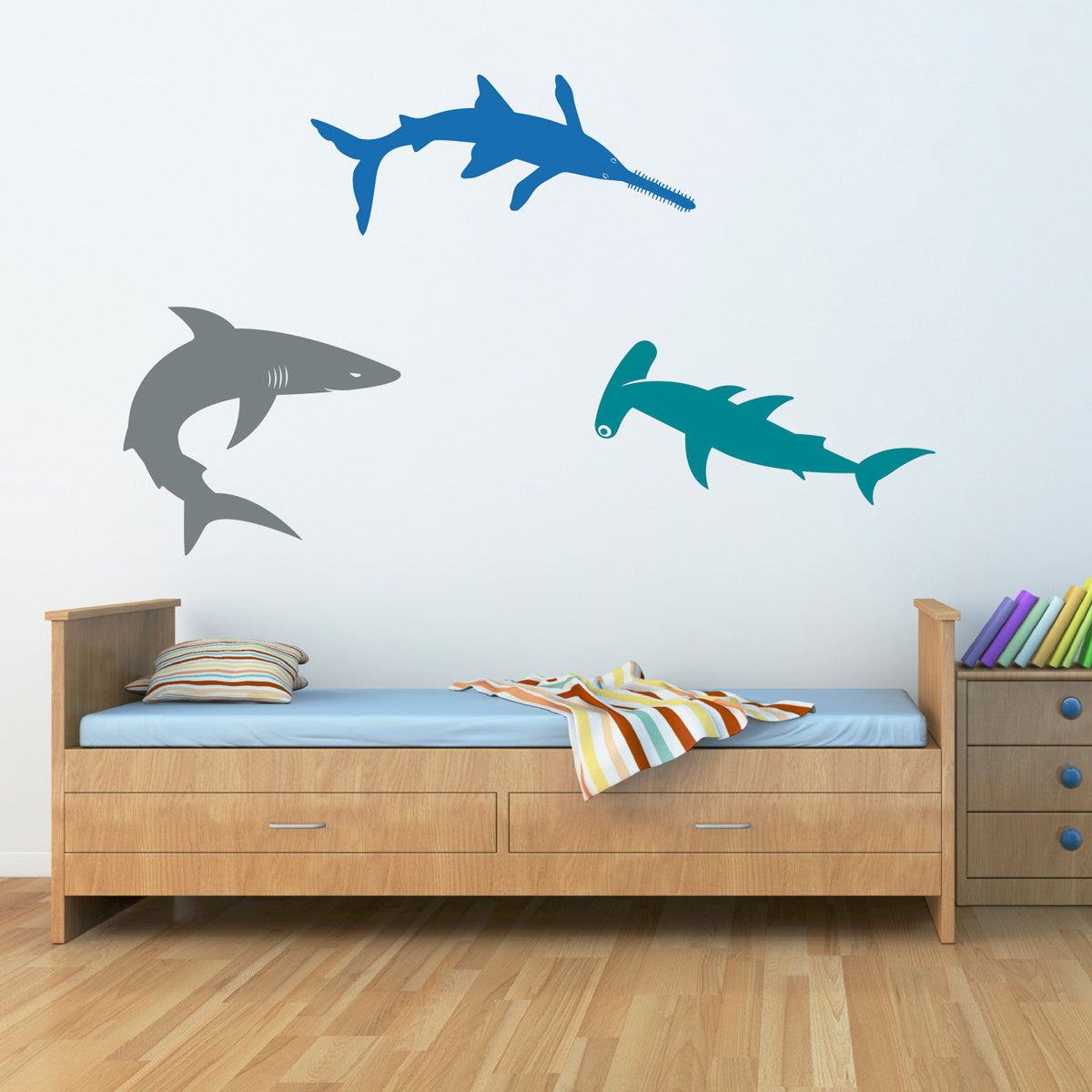 Sharks wall decal set bull shark hammerhead sawshark boy sharks wall decal set bull shark hammerhead sawshark boy bedroom wall stickers extra large set of 3 amipublicfo Image collections