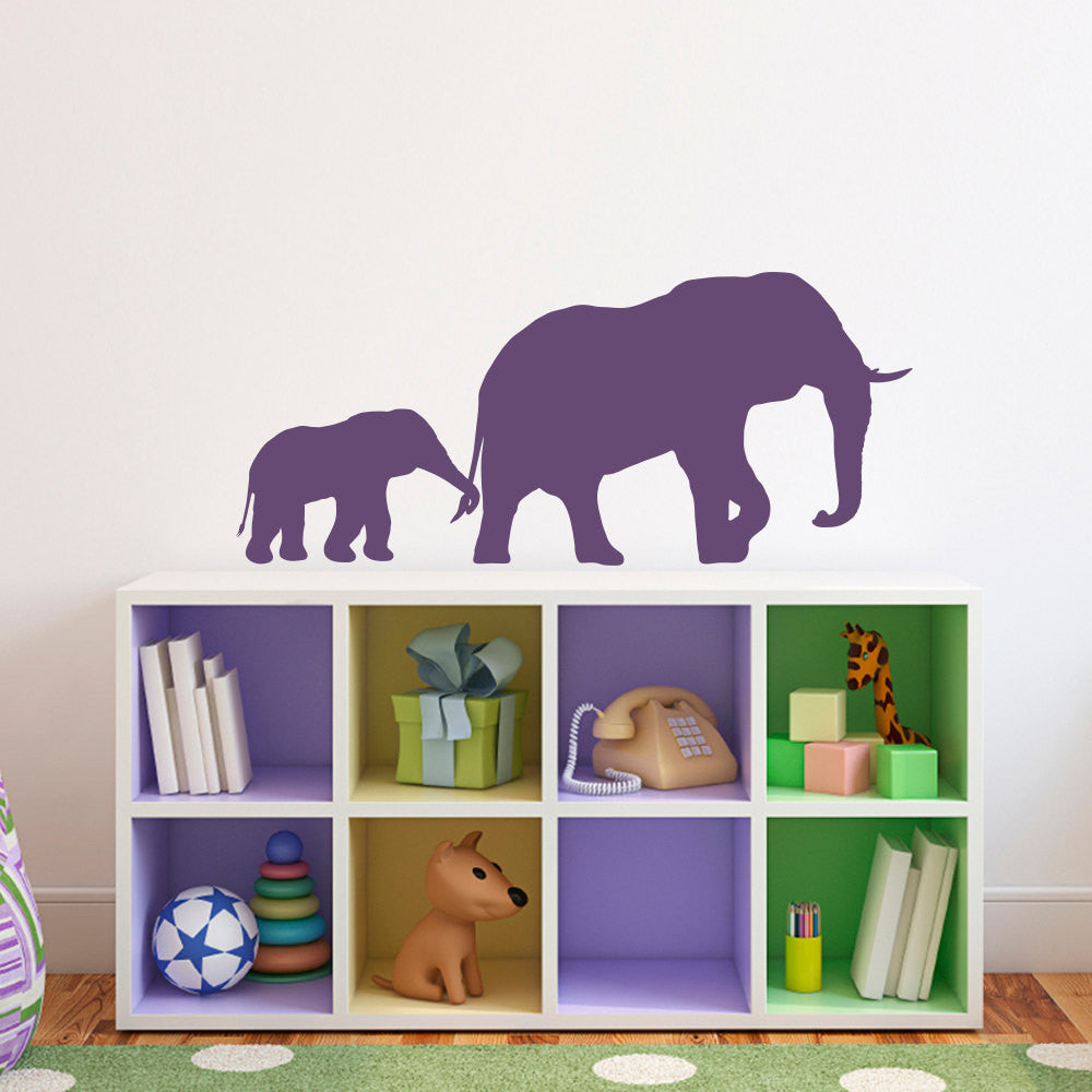 Elephant and Baby Wall Decal - Medium