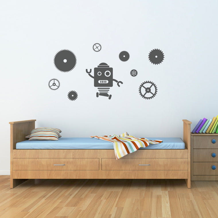 Robot & Gears Decal Set - Robot Wall Decal - Gears Wall Stickers - Large
