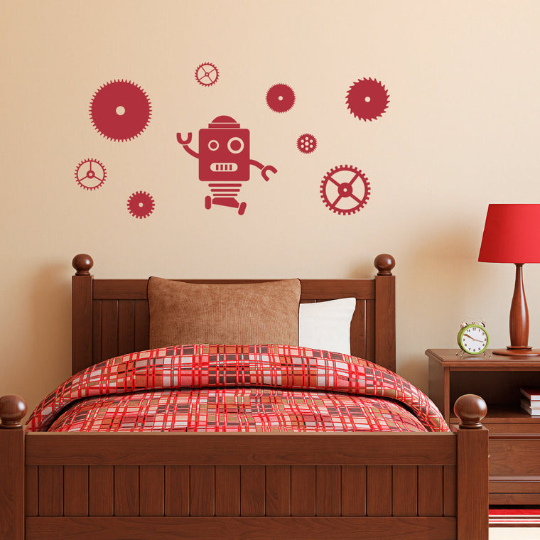 Robot and Gears Decal Set - Gears Wall Decal - Robot Wall Sticker - Medium