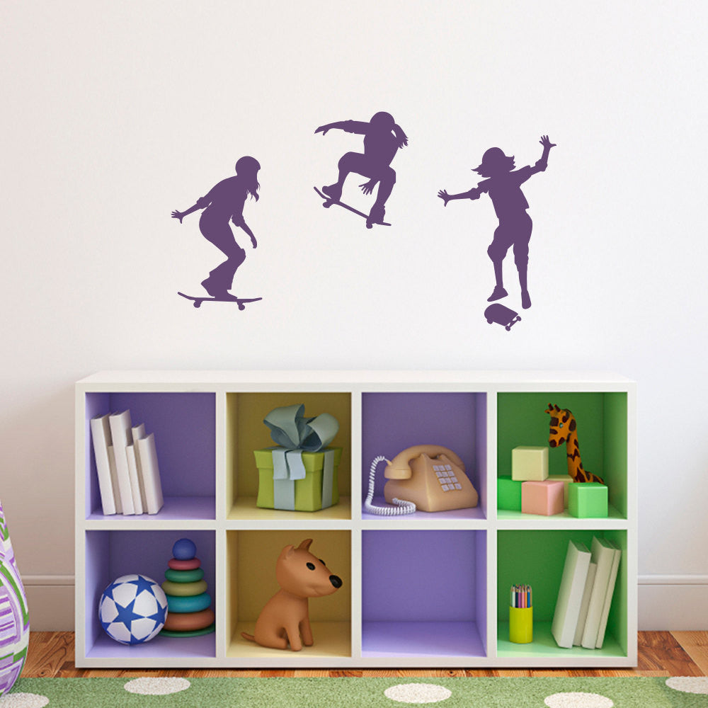 Girl Skateboarder Wall Decal - Set of 3