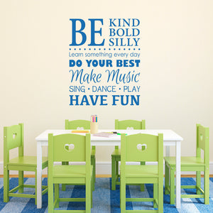 Be Kind Bold Silly Wall Sticker - Make Music - Have Fun - Sing Dance Play - Playroom Wall Decal - Large
