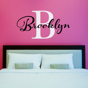 Initial and Personalized Name Large Wall Decal Set