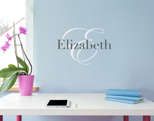 Initial and Personalized Name Small Wall Decal Set